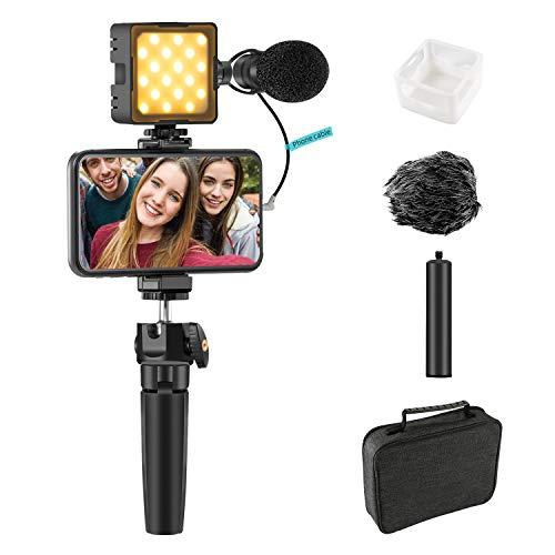 Sutefoto Smartphone Video Mikrofon Vlogging Vlog Kit mit 2800-8500k Licht & Diffusor + Mikrofon + Stativ + Telefonclip + Verlängerungsstange Videoaufnahme Set für iPhone Youtube Tiktok Filming Meeting