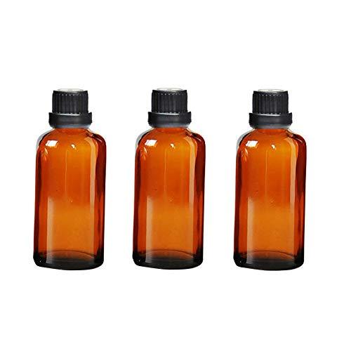 VASANA 3 botellas de aceite esencial de vidrio ámbar de 100 ml con reductor de orificio y tapa de rosca negra Attar Botellas de bricolaje Herramientas de maquillaje Perfume aromaterapia uso