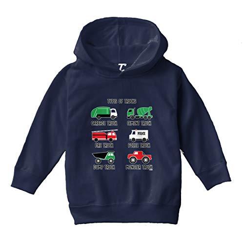 Types of Trucks - Garbage Monster Fire Toddler/Youth Fleece Hoodie (Navy Blue, 4T (Toddler))