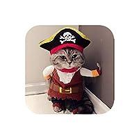 面白い猫の服海賊のスーツ猫の衣装の服コルセアのハロウィーンの服ドレスアップ猫のパーティーの衣装のスーツ-Cat Pirate Clothes-S