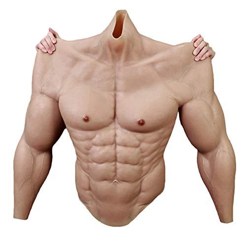 LUCKFY Cassa Muscolare Maschio Finto - Muscolo da Uomo in Silicone - Realistic High Collar Chest Muscles Belly - per Costumi da Masquerade Costume Costume Hallaween Props
