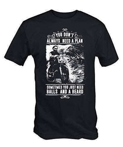6TN Hombre You Don't Always Need a Plan Just Bolas y un Barba Camiseta - Negro, X-Large