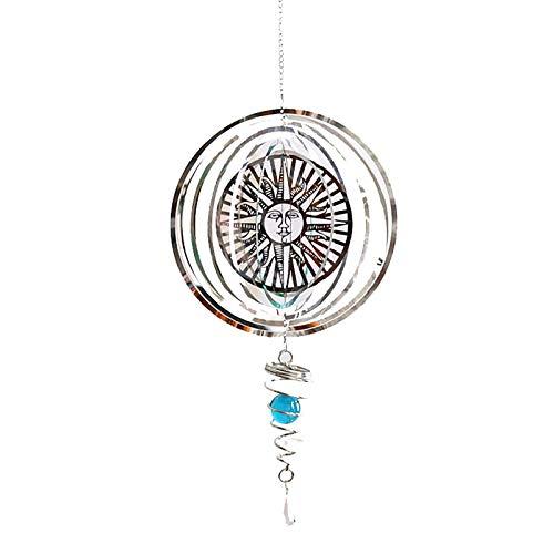 3D Wind Spinner Hanging mit Gazing Ball Spiral Tail, 360 Grad Spin Metal Wind Skulpturen, Edelstahl Glockenspiel für Outdoor Garden Room Crafts, 22,8 Zoll