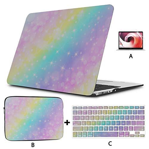 Funda para Macbook Pro 2017 Colorful Smart Mermaid Rainbow Mac Funda de 13 Pulgadas Hard Shell Mac Air 11'/ 13' Pro 13'/ 15' / 16'con Funda para portátil para Macbook Versión 2008-2020
