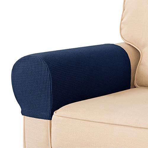 CHUN YI 1 Paar Armlehnenbezüge Stretch Armlehnenschoner für Sofa, Sofa Armkappen für Sessel, Waschbar 2 Set Lehnenüberwurf, Anti-Rutsch-Möbelschutz für Sofa Couch (2 Stück, Dunkelblau)