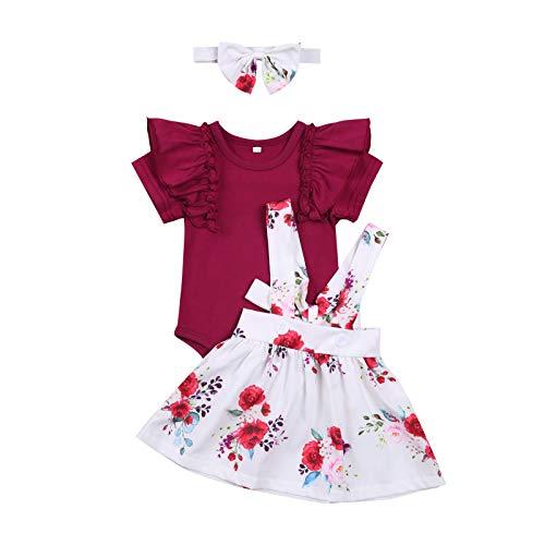 Conjunto de ropa de bebé de manga corta + falda de lazo o vestido de algodón corto para niños pequeños, 2 piezas, 3 meses a 4 años J-Vino 1 12-18 Meses