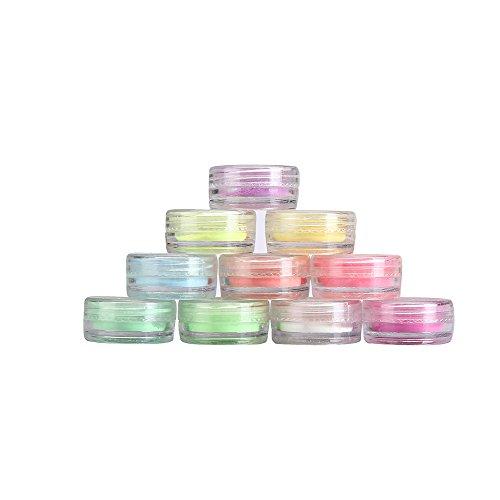 CATHYOYO Poudre Brillante Décoration Ongles Acrylique Nail Art Ongle Fluorescerende Powder Nail Decoration Glow in Dark Kit 10PC / set (Multicolore)