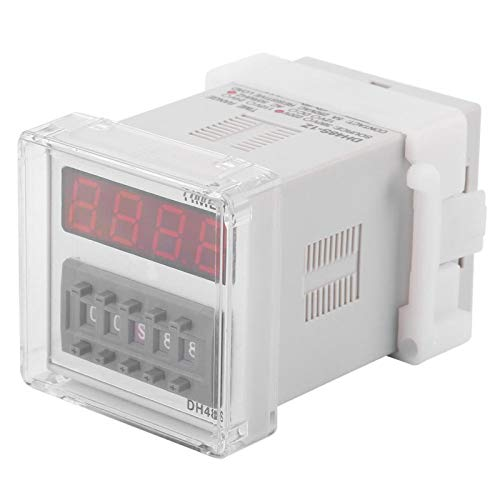 Relé de última hora EVTSCAN, DC 12/24V AC 110/220V Pantalla LED digital Relé de temporización Interruptor de relé de tiempo(220VAC)