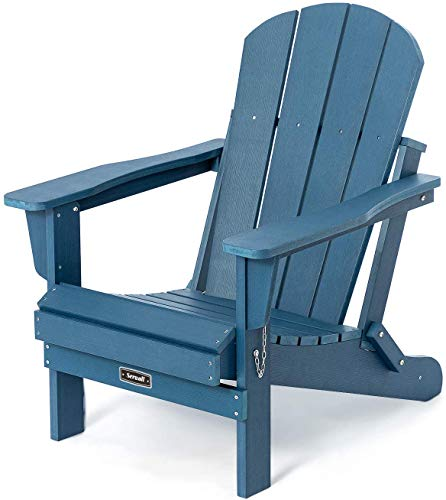 Folding Adirondack Chair Patio Chairs Lawn Chair Outdoor Chairs Painted Adirondack Chairs Weather Resistant for Patio Deck Garden, Backyard Deck, Fire Pit & Lawn Furniture Porch & Lawn Seating- Blue