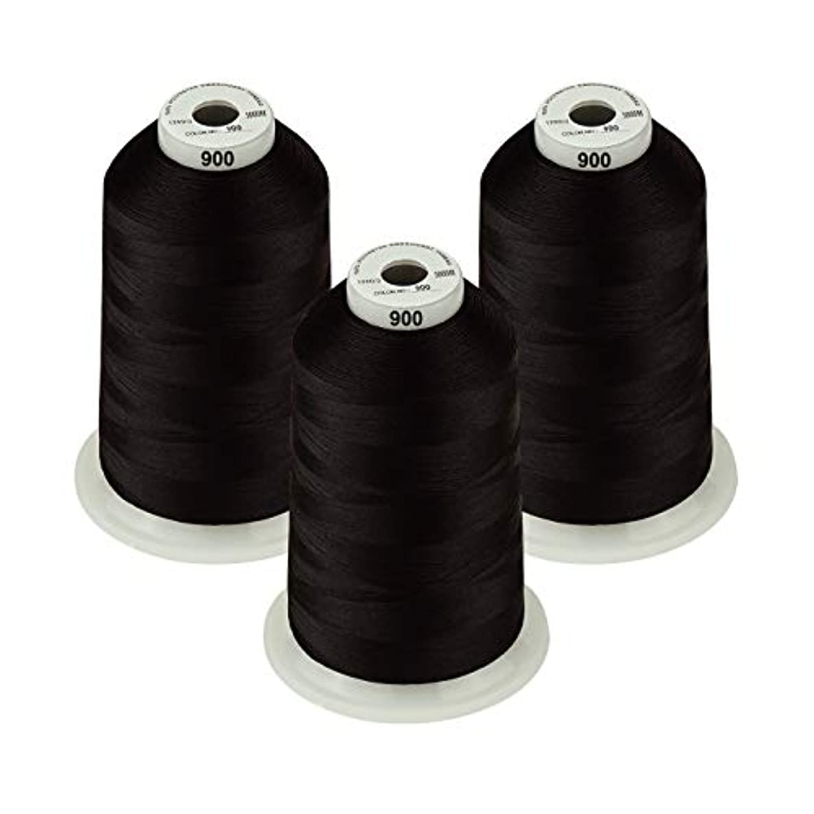 Simthread - 26 Selections - Various Assorted Color Packs of Polyester Embroidery Machine Thread Huge Spool 5500Y for Sewing Embroidery Machines - Black