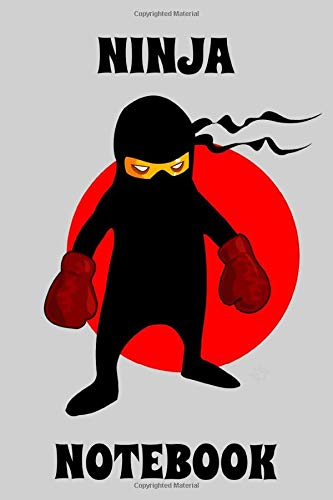 Ninja - Notebook - Boxing Gloves - Gray - Black - Red - College Ruled - Visarem Publishing