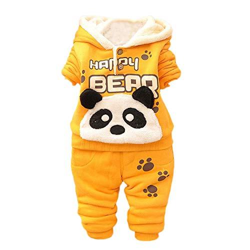 Kobay Baby Kinder Jungen Set Kleidung Langarm Karikatur Panda Top + Hosen(6-12M,Gelb)