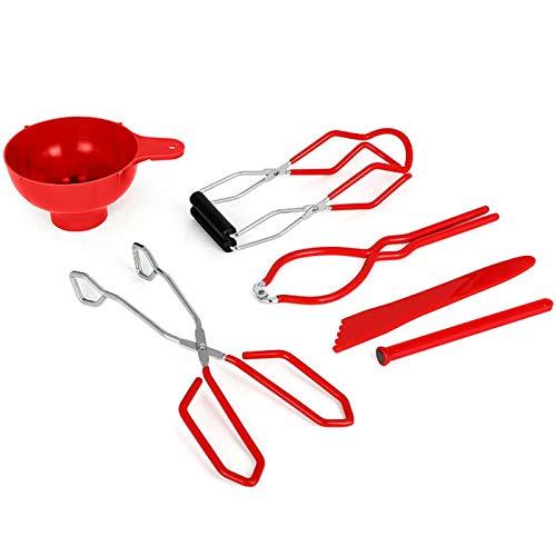 presentimer 6-teiliges Edelstahl-Konservenwerkzeug-Set-Kit, Verbrühschutz-Dosenzange, Rutschfester Dosenhebezangenheber für Heimkonserven-Zubehör-Kit