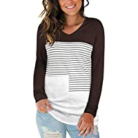 Styleword Women's V Neck Long Sleeve Block Striped Casual Tops