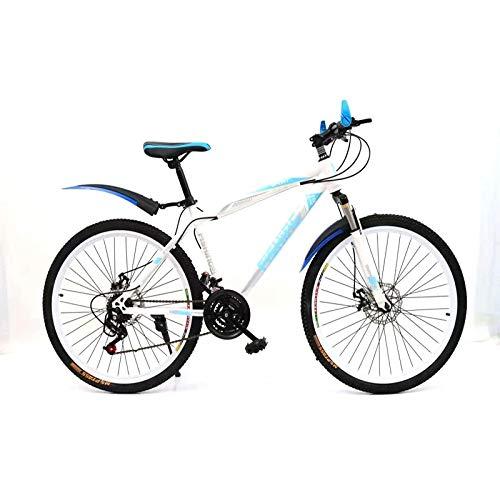 WANG-L Bicicleta De Montaña De 20/22/24/26 Pulgadas Bicicleta De Carretera con Suspensión De Doble Disco para Hombres Y Mujeres Adultos,White-24inch