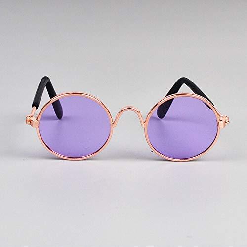 PPuujia Gafas de sol de metal circulares para mascotas con diseño de gato o perros pequeños, gafas de sol resistentes al viento, protección de ojos para cachorros y gatos (color dorado y morado