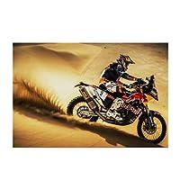 ラリーモトスポーツスピードバイクデザートサンドレーサーオートバイウォールアートポスターキャンバスプリントリビングルームインテリア-50x70CMフレームなし