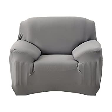 ANJUREN Polyester Spandex Fabric 1-Piece Stretch Slipcover For Chair Loveseat Sofa Without Pillow (Chair, Gray)
