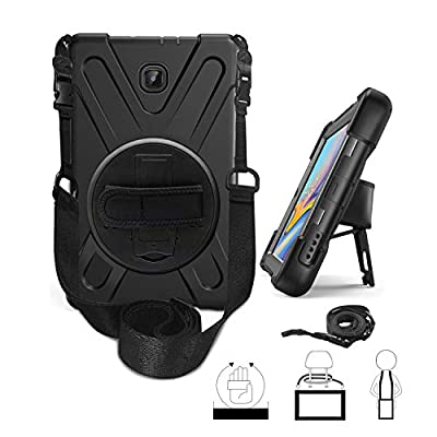 """Galaxy Tab A 8.0 T387 (2018/2019, LTE) Case by KIQ Shockproof Heavy Duty Military Rugged Armor Case Cover Kickstand Shoulderstrap for Samsung Galaxy Tab A 8.0"""" LTE SM-T387"""