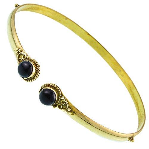 Chic-Net Brass Oberarmreif Punkte gold Onyx rund Seil Spiralbogen nickelfrei verstellbar Tribal Armreif