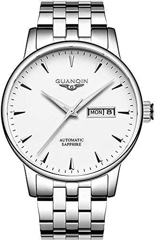 Reloj Mecánico Automático de Hombre Calendario Analógico Luminoso de Negocios Casual Correa de Cuero/Acero Inoxidable 3ATM Resistente al Agua