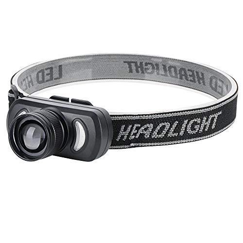 XWYWP Lampe Frontale PROJECTEUR LED XPE 1000LM Mini Phare Zoomable 3-Mode Tête Torche USB Rechargeable Lampe de Poche Imperméable à l'Eau