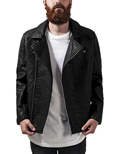 Urban Classics Herren Leather Imitation Biker Jacket Jacke, Schwarz (black 7), Medium (Herstellergröße: M)