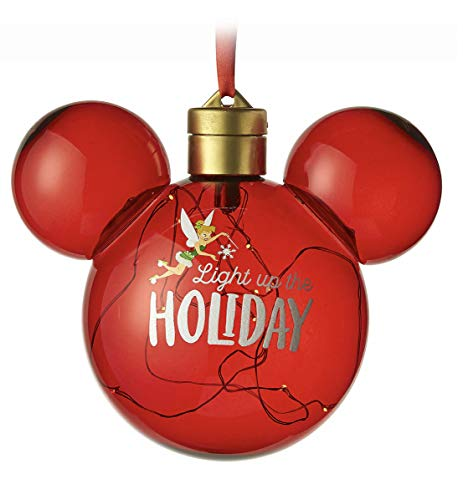 Disney Parks Tinkerbell Tinker Bell Light Up Nordic Mickey Mouse Ears Holiday Christmas Ornament