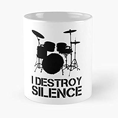 I Destroy Silence Drums - A Drummer Gift Whether You P-lay In A Band Concert Or The Basement Class Funny Quote Coffee Mug Christmas Gifts, Unique Birthday Gifts Cup White, 11 Oz.