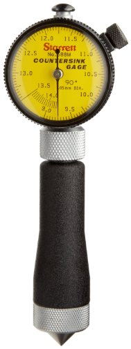 Starrett 688M-3Z Millimeter Reading Countersink Gauge With Yellow Dial, 90 Degree Angle, 9-14.2mm Range