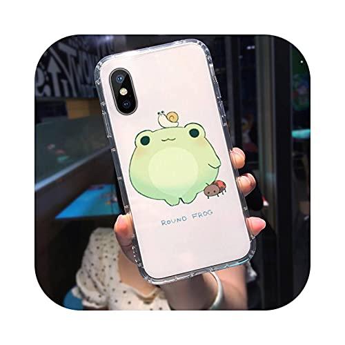 Verde menta divertido la rana lindo teléfono caso transparente para iphone 11 12 mini pro XS MAX 8 7 6 6S Plus X 5S SE 2020 XR-a1-para iphone12 12PRO