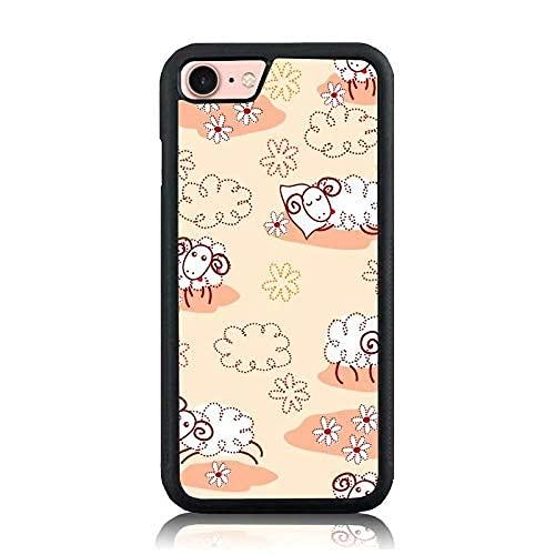 Compatible con iPhone Samsung Xiaomi Redmi Note 10 Pro/Note 8/9/Poco M3 Pro/Poco X3 Pro Funda-Running Sleeping Sheep Flower Fundas de teléfono Negras Suaves a Prueba de Golpes