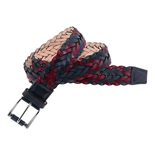 Leyva - Cinturón de piel trenzado bicolor de hombre (85 cm)