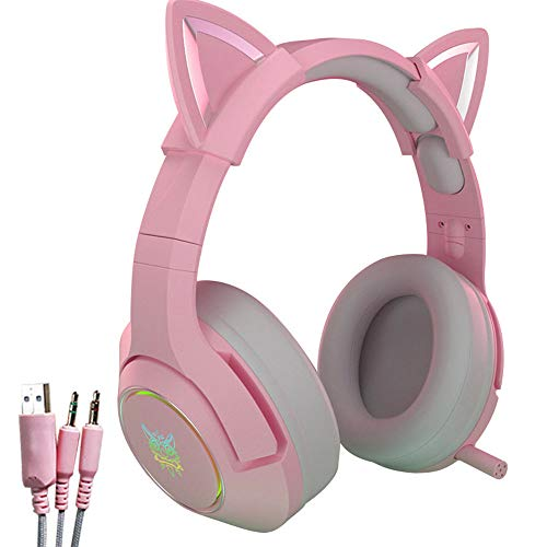 XFUZZ New K9 Headset Pink Stereo Gaming Mic Wired Cat Ear Headset with HiFi 7.1 Channel Gaming Music Headphones for Computer