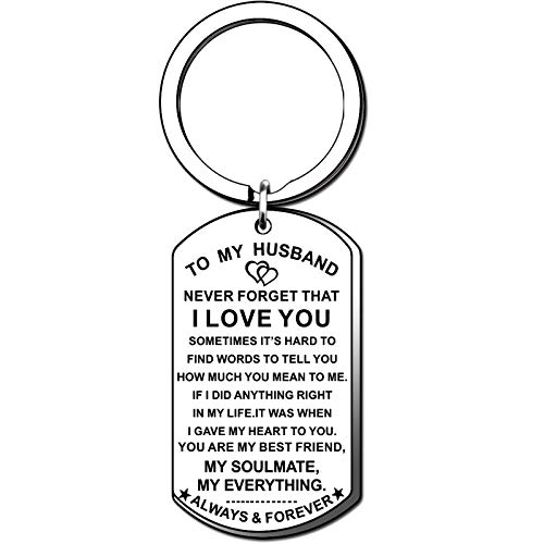 TTOVEN Husband Keyring From Wife Love Keyrings to My Husband Dog Tag Couples Key Ring Keychains Wedding Gifts for Husband Anniversary Valentines Day