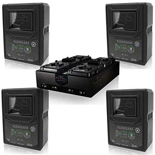 Core SWX 4 Pack Hypercore NEO 9 Mini 98Wh 14.8V 6.6Ah V-Mount Lithium-Ion Battery - with Core SWX FLEET-Q4S Four-Position Simultaneous V-Mount Charger