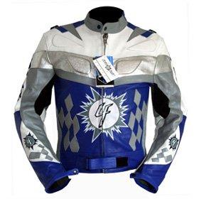 4LIMIT Sports Motorradjacke Leder 4RACING Biker Motorrad Jacke Lederjacke blau
