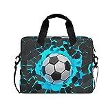 FELIZM - Funda para ordenador portátil con correa para el hombro, diseño de fútbol en 3D, para hombres, mujeres, niños y niñas, 15-16 pulgadas
