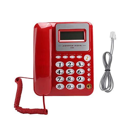 FOLOSAFENAR Material ABS Teléfono de Oficina Función de calculadora Duradera Tonos de Llamada de 24 Estilos Teléfono residencial Multifuncional, para el hogar, para Negocios, para(Red)