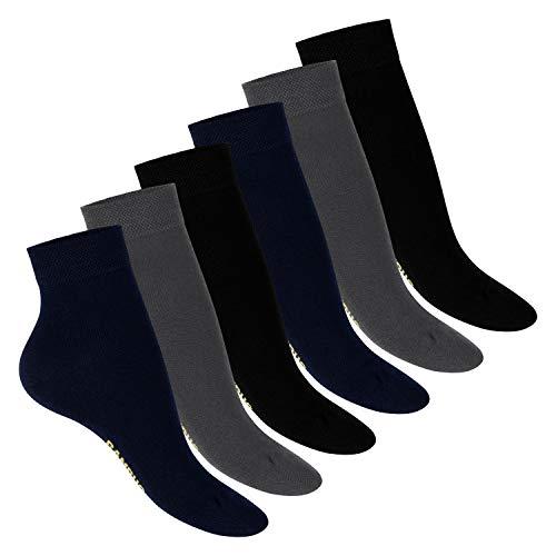 Footstar Damen Bambus Kurzschaft Socken (6 Paar), Quarter Socken aus nachhaltiger Viskose - Mix 39-42