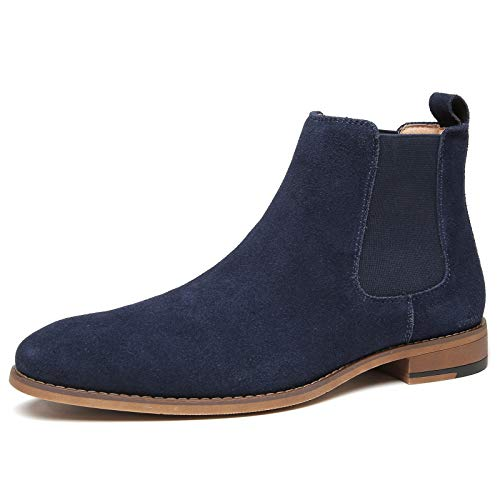Chelsea Slip-on Suede Boots for Men - Genuine Leather Waterproof Chukka Boots, Work Casual Oxford Dress Ankle Bootie LHM05B-BLUE-8.5