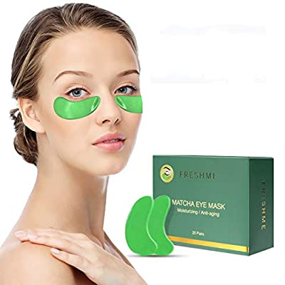Matcha Under Eye Masks - Nature Aloe Vera Extraction & Pure Matcha Collagen Anti Wrinkle Aging Puffiness Eye Patches Masks Deep Hydration Relieve Dark Circles Eye Moisturising Pads 20 Pairs