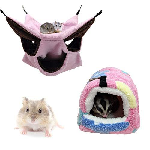 Cama de Hamaca para Mascotas Nido de Casa de Hámster de Rata,JEANGO 3 Capas Cama Colgante de Felpa Cálida para Hamster Animales Pequeños Ardilla Hurón Jerbo Chinchilla Hedgehog Conejo (2PCS)