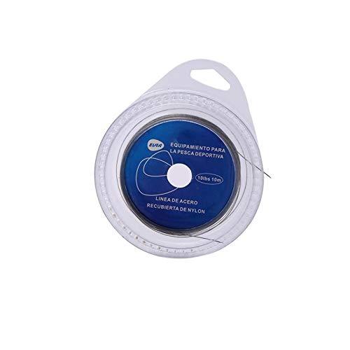 Bruryan Alambre de Acero para Pesca 5 Tipos 10m 7 hebras Líder Alambre de Acero para Pesca en el mar Cubierto de plástico(20 lbs)