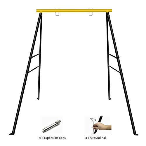 """SURPCOS Swing Frame, New Upgraded A-Frame Swing Stand with Ground Nail, Heavy Duty Metal Swing Frame, Fits for Most Swings & Yoga Swing, Anti-Rust and Good Stability, 72"""" Height 36"""" Length"""