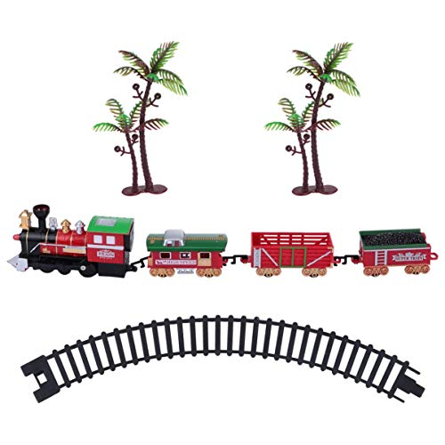 party supplies train toys GARNECK Christmas Train Toys Battery Operated Train Toy Plastic Train with Lights and Music for Children Xmas Holiday Birthday Party Supplies Favors Gifts