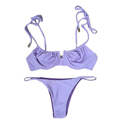 EUCoo Women Bikini Trendy Solid Stripe Swimwear Strappy Padded Bra High Waist Thong Two-Piece Set Bathing Suit