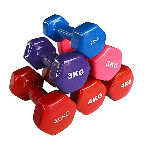 1 paar dumbbells Deluxe Milieuvriendelijke PVC Coated Hand Gewichten All-Purpose kleurcode Domoor voor krachttraining,Purple,2kg*2