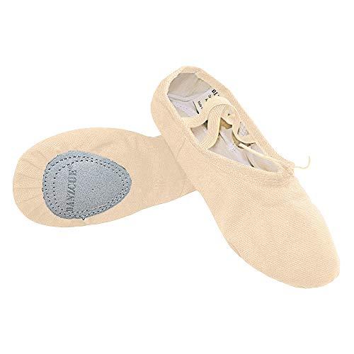 Danzcue Ballet Slipper Women's Canvas Split Sole Ballet Shoes, Ballet Pink,...