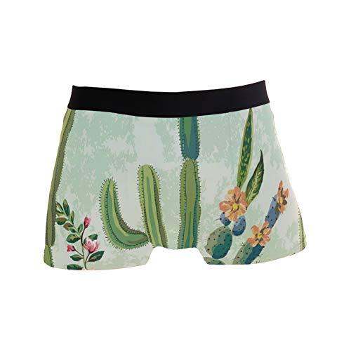 Linomo Herren Boxershorts Tropisch Kaktus Unterhosen Männer Herren Unterwäsche für Männer